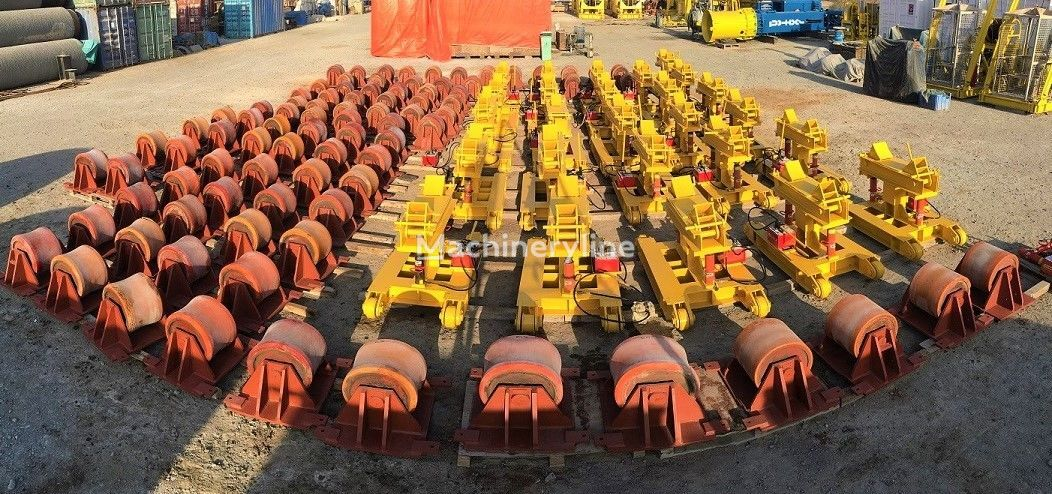 Onshore pipe fabrication elevating and roller pulling system Rohrleger